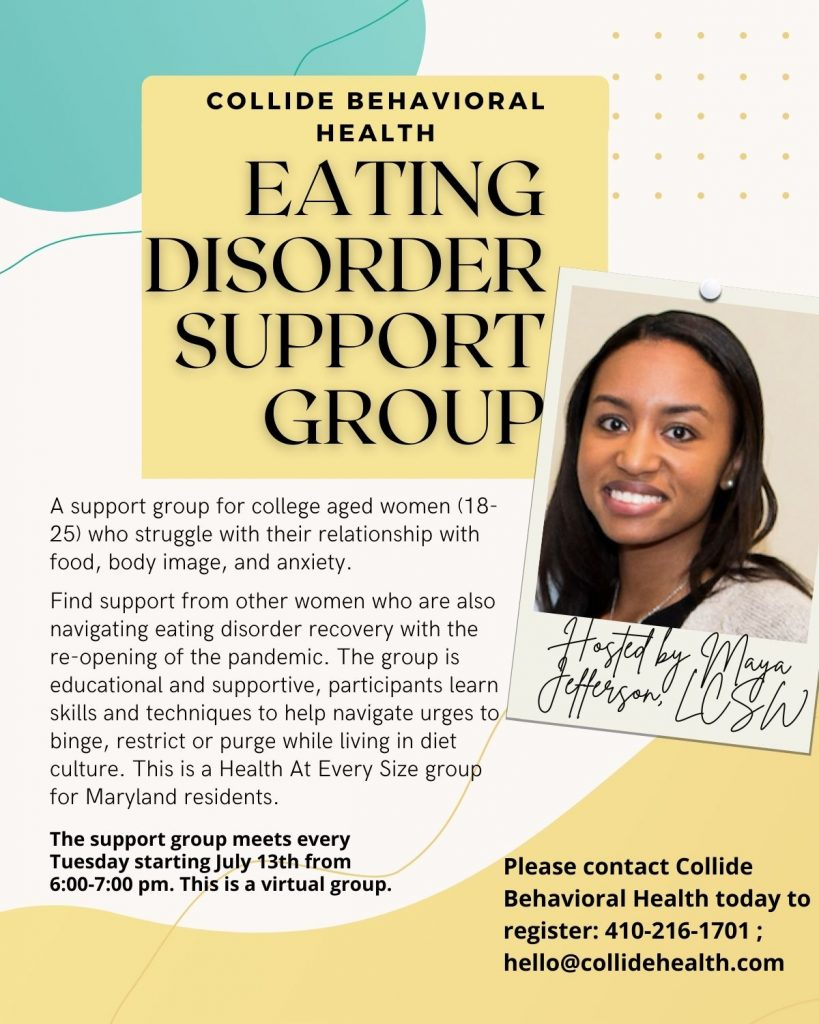 Eating Disorder Support Group for college students in Maryland