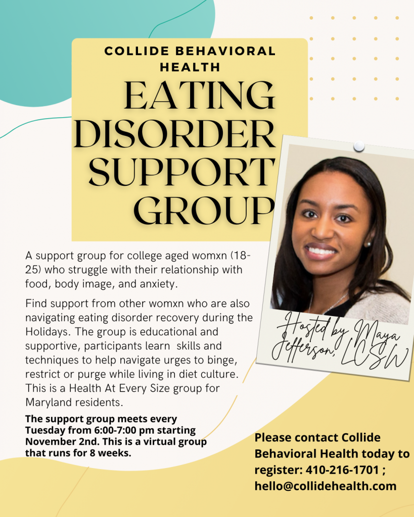 A yellow and green flyer advertising an eating disorder support group